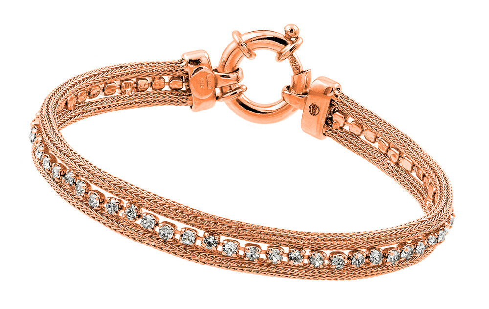 .925 Sterling Silver Rose Gold Plated Clear Multiple Small Square Cubic Zirconia Bracelet