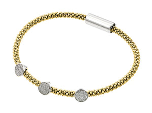 .925 Sterling Silver Rhodium &  Gold Plated 3 Circle Clear Cubic Zirconia Italian Bracelet