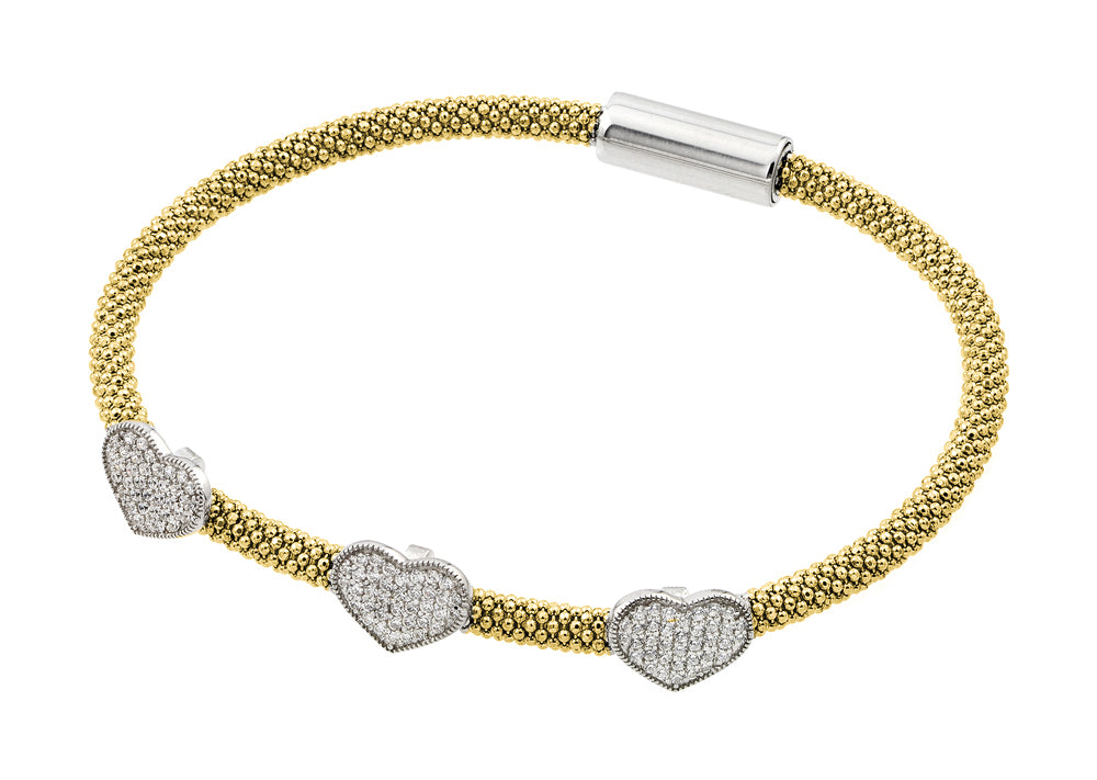 .925 Sterling Silver Rhodium &  Gold Plated Heart Micro Pave Clear Cubic Zirconia Beaded