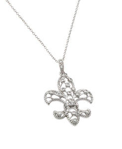 .925 Sterling Silver Rhodium Plated Open Fleur De Lis Cubic Zirconia Necklace 18 Inches