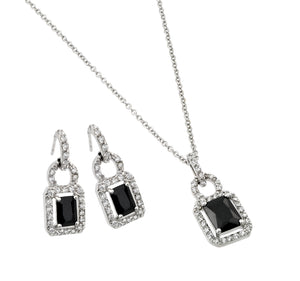 .925 Sterling Silver Rhodium Plated Black &  Clear Rectangle Cubic Zirconia Hook Earring
