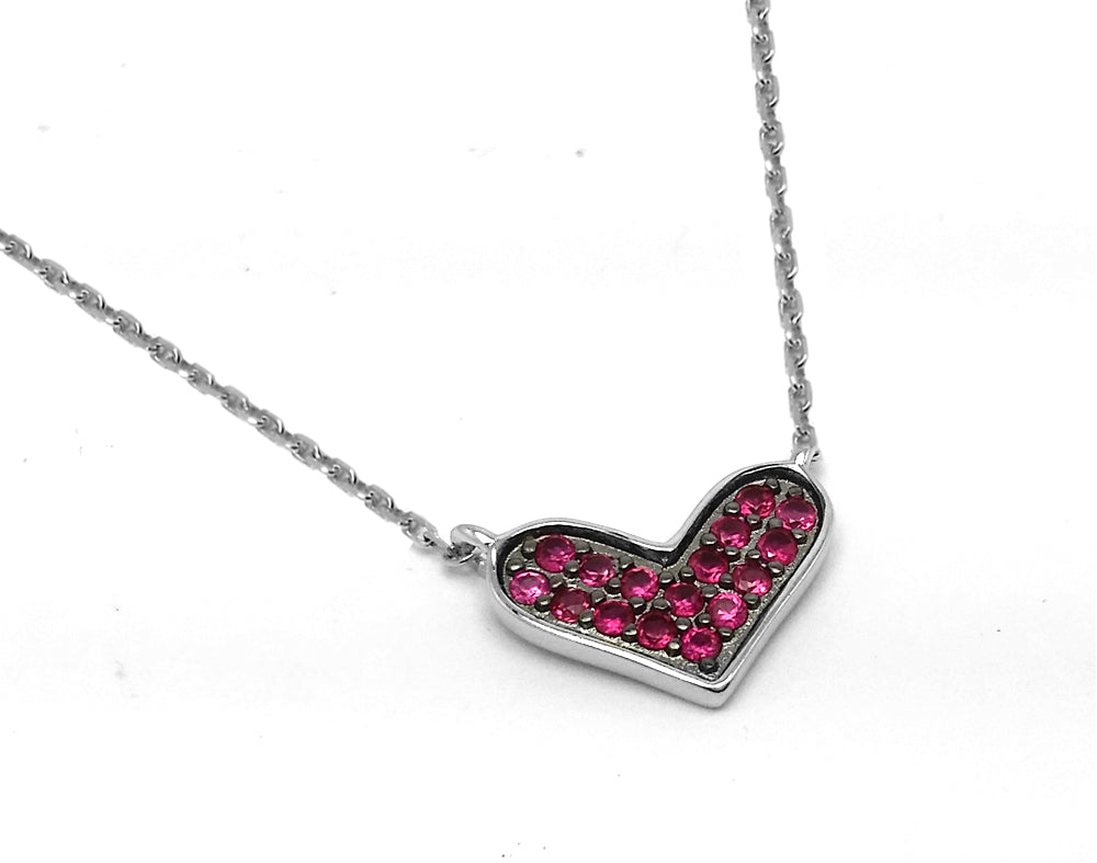 .925 Sterling Silver Rhodium and Black Rhodium Plated Red Ruby CZ  Wide Heart Necklace 16 Inches