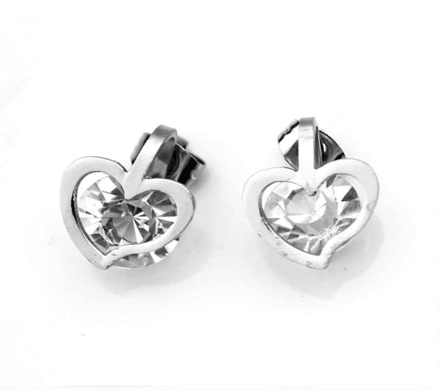 Stainless Steel Heart Clear Cubic Zirconia Stud Earring