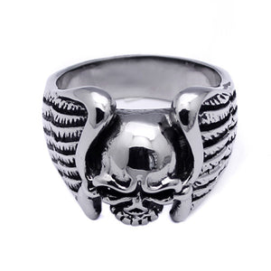 Men's Stainless Steel Eagle Wings Skull Ring