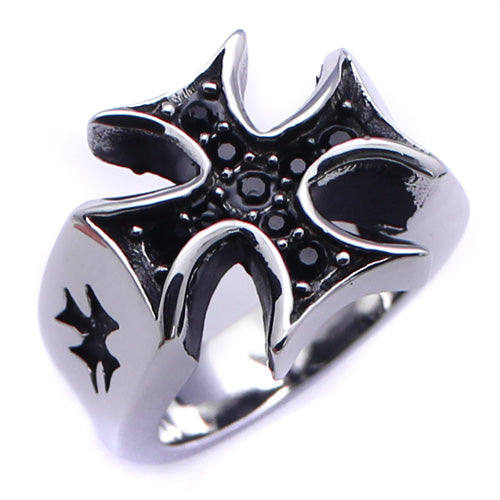 Men's Stainless Steel Black Rhodium Palted Cross Black Cubic Zirconia Ring