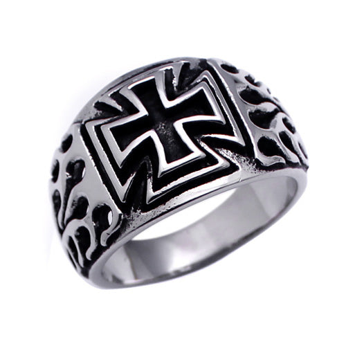Men's Stainless Steel Cross Flame Sides Ring