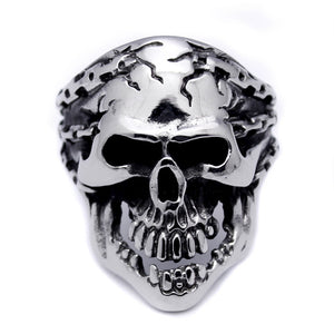 Men's Stainless Steel Skull   Chains Ring