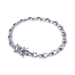 Brass Rhodium Plated Clear Cubic Zirconia Heart Link Bracelet