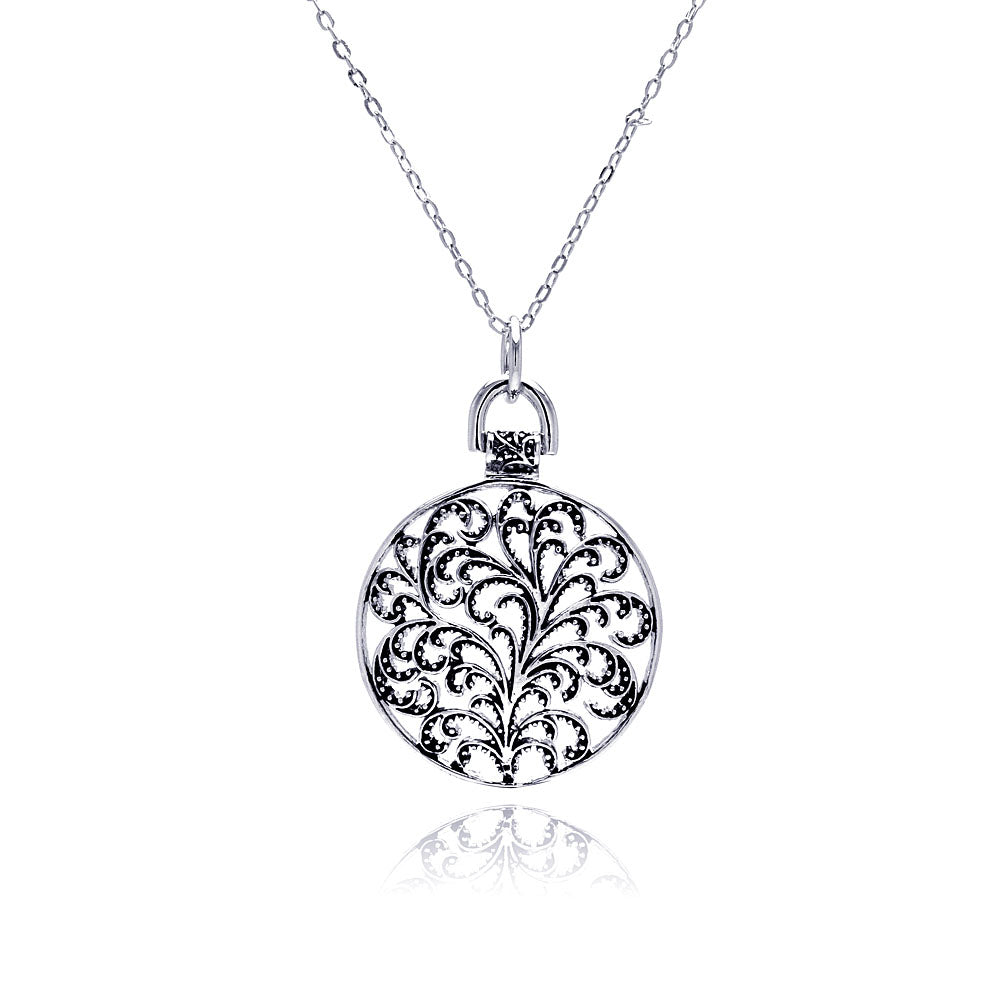Rhodium Plated Brass Round Disc Flower Outline Pendant Necklace