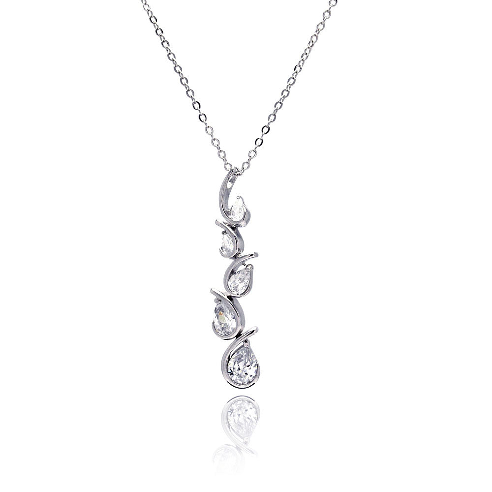 Rhodium Plated Brass Clear Cubic Zirconia Teardrop Wave Setting Pendant Necklace