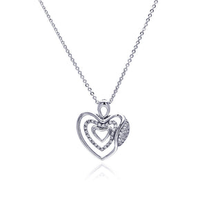 Rhodium Plated Brass Clear Cubic Zirconia  Triple Hearts Pendant Necklace