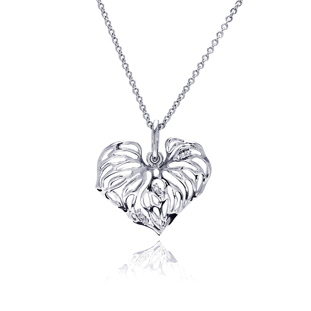 Rhodium Plated Brass Clear Cubic Zirconia  Cutout Heart Pendant Necklace