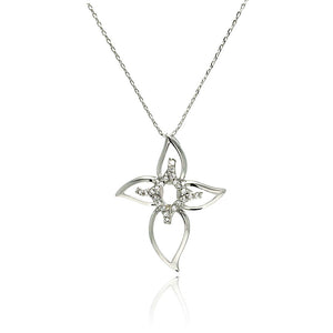 Rhodium Plated Brass Open Cross Flower Clear Cubic Zirconia Pendant Necklace
