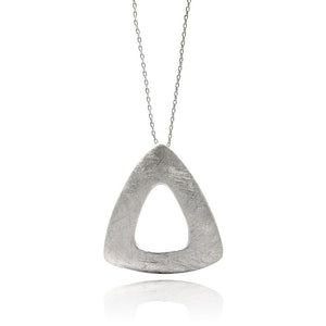 Rhodium Plated Brass Matte Finish Open Triangle Pendant Necklace