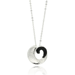 Rhodium & Black Rhodium Plated Brass Open Disc Black Cubic Zirconia Pendant Necklace