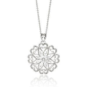 Rhodium Plated Brass Open Flower Disc Clear Cubic Zirconia Pendant Necklace