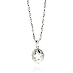 Rhodium Plated Brass Open Star Disc Pendant Necklace