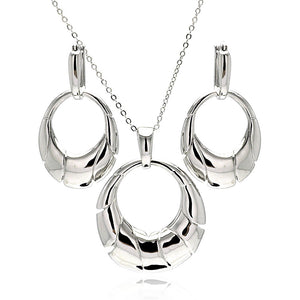 Rhodium Plated Brass High Polish Open Oval Cresent Leverback Earring & Necklace Set