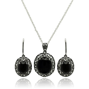 Brass Black Rhodium Plated  Cubic Zirconia Disc Necklace & Earring Set