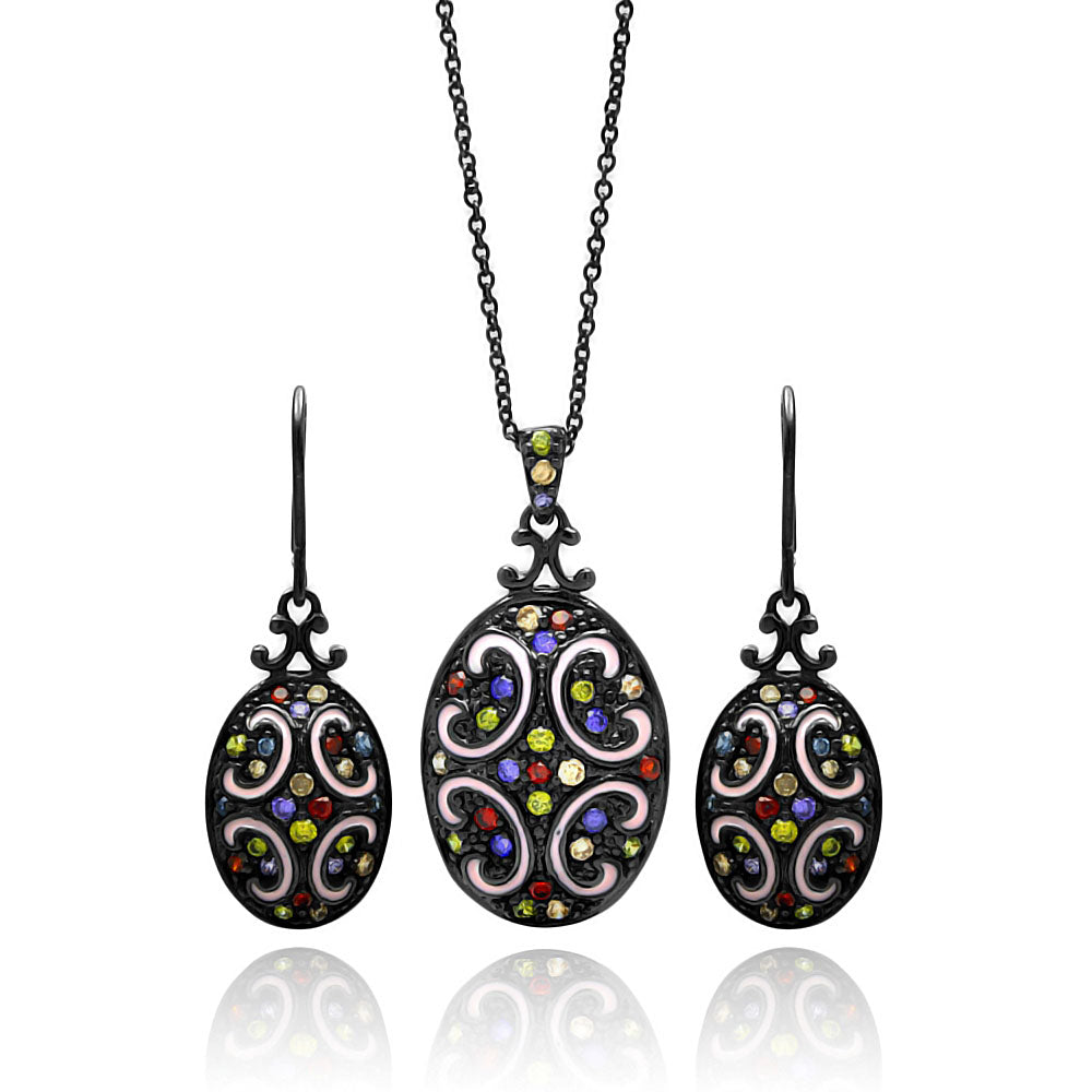 Brass Black Rhodium Plated  Oval Disk Multiple Color Cubic Zirconia Necklace & Earring Set