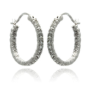 Rhodium Plated Brass Clear Cubic Zirconia  Hoop Earring