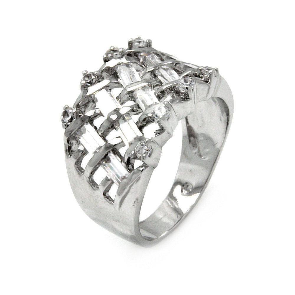 Rhodium Plated Brass Net Clear Cubic Zirconia Cigar Band Ring
