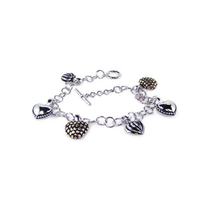.925 Sterling Silver Rhodium Plated Multiple Four Tone Heart Cubic Zirconia  Bracelet