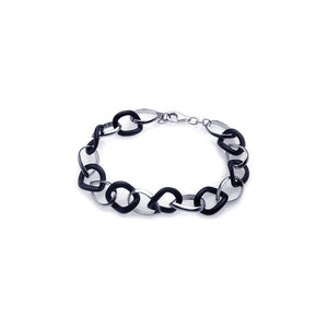 .925 Sterling Silver Rhodium Plated Onyx and Silver Link  Bracelet