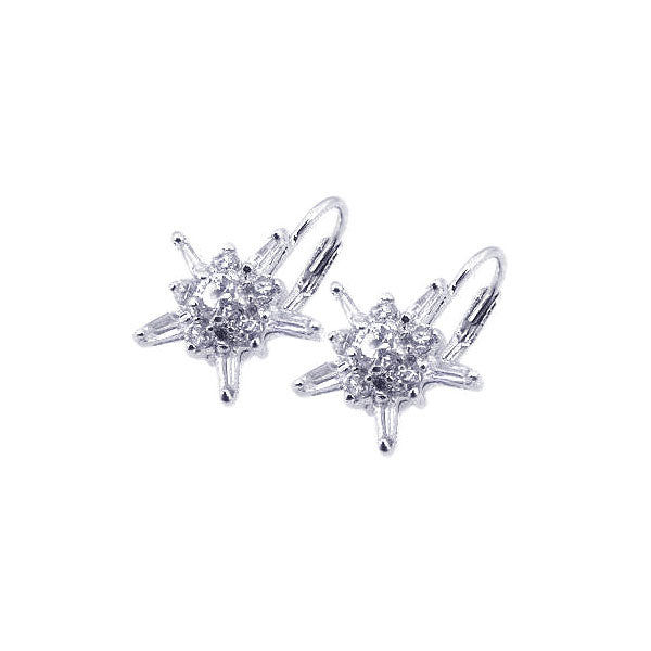 .925 Sterling Silver Rhodium Plated  Star Clear Cubic Zirconia Hook Earring