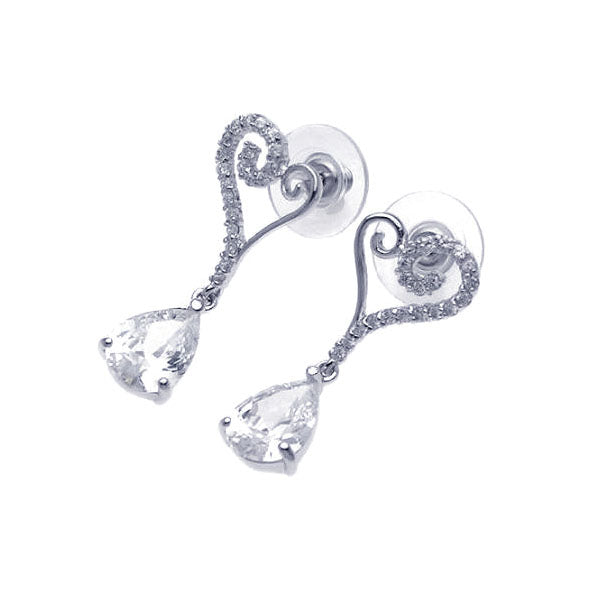 .925 Sterling Silver Rhodium Plated Open Heart Cubic Zirconia Dangling Stud Earring