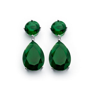 .925 Sterling Silver Rhodium Plated Round Teardrop Green Emerlad Cubic Zirconia Dangling Earring