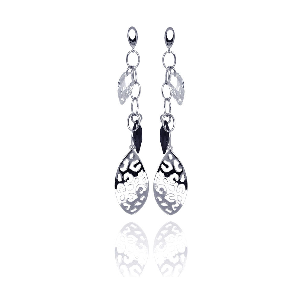 .925 Sterling Silver Rhodium Plated Black &  Clear Marquise Cubic Zirconia Flat Filigree