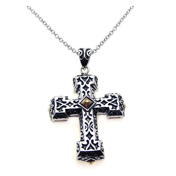 .925 Sterling Silver Rhodium Cross Small Center Square Cubic Zirconia Necklace 18 Inches