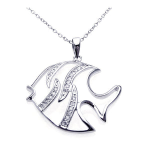 .925 Sterling Silver Rhodium Cubic Zirconia White Enamel Fish Necklace 18 Inches