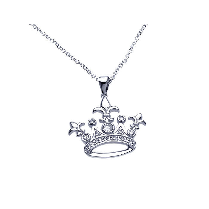 .925 Sterling Silver Rhodium Crown Cubic Zirconia Necklace 18 Inches