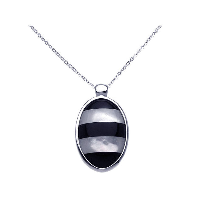 .925 Sterling Silver Rhodium MOP Onyx Oval Cubic Zirconia Necklace 18 Inches