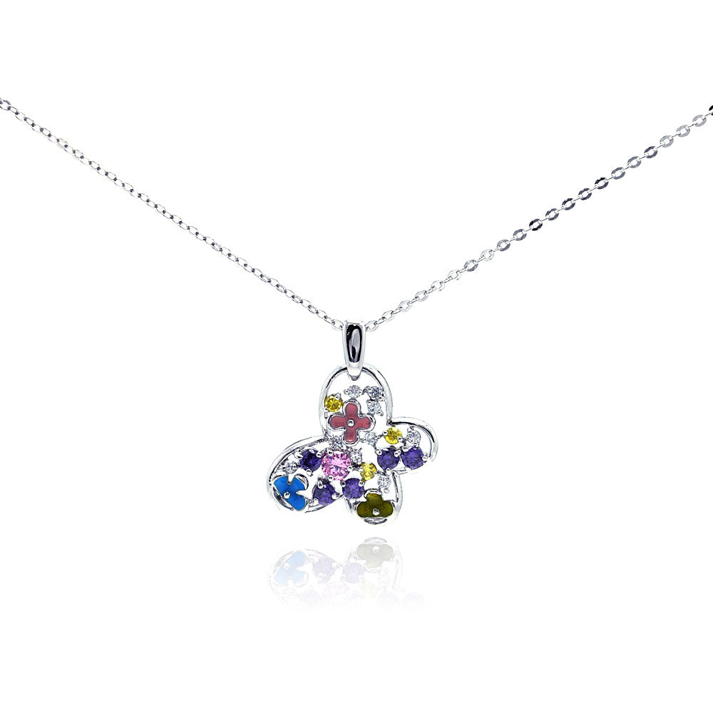 .925 Sterling Silver Rhodium Multicolor Butterfly Cubic Zirconia Necklace 18 Inches