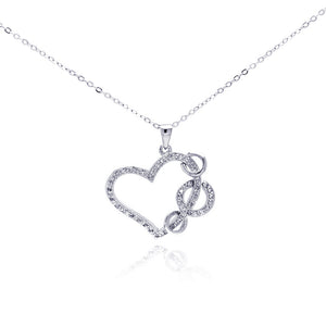 .925 Sterling Silver Rhodium Plated Open Hear Hanging Loop Cubic Zirconia Necklace 18 Inches