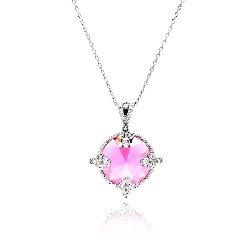 .925 Sterling Silver Rhodium Plated Pink Round Cubic Zirconia Necklace 18 Inches