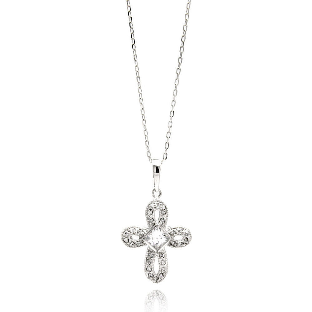 .925 Sterling Silver Rhodium Plated Open Cross Cubic Zirconia Necklace 18 Inches