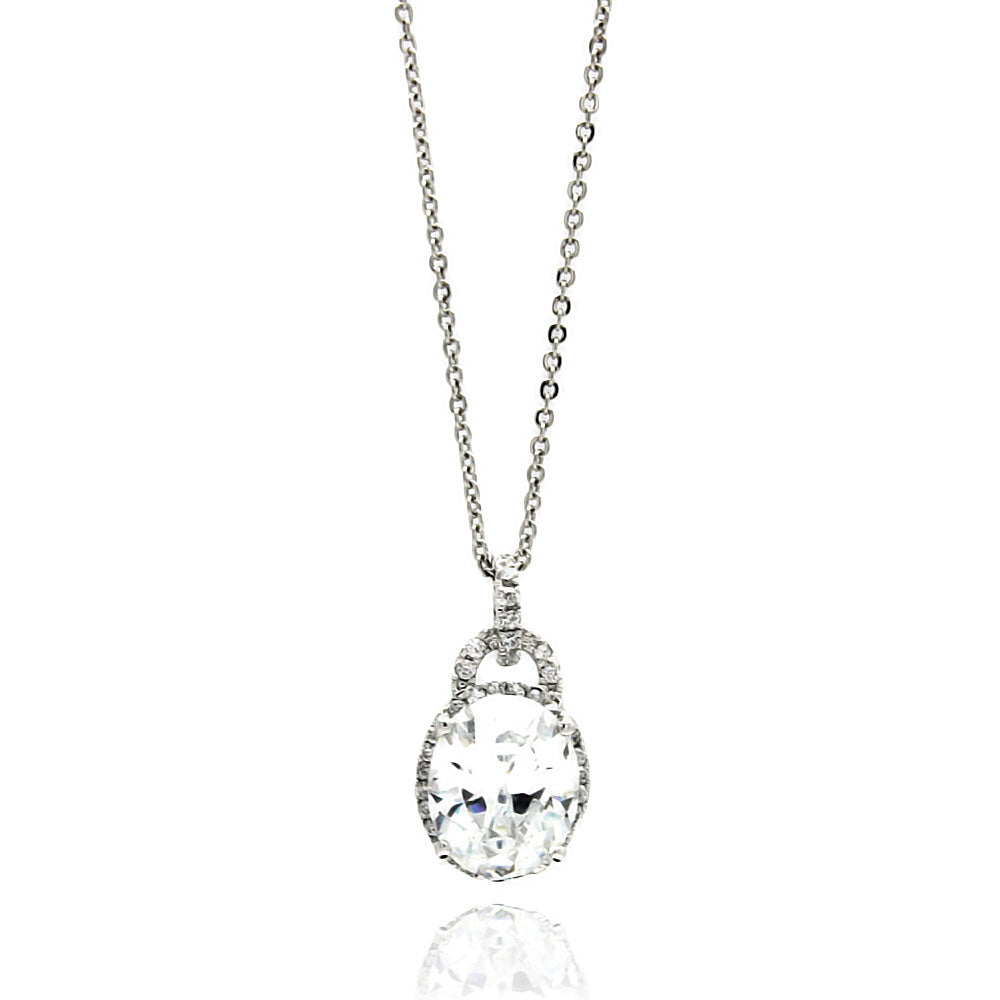 .925 Sterling Silver Rhodium Plated Oval Cubic Zirconia Necklace 18 Inches