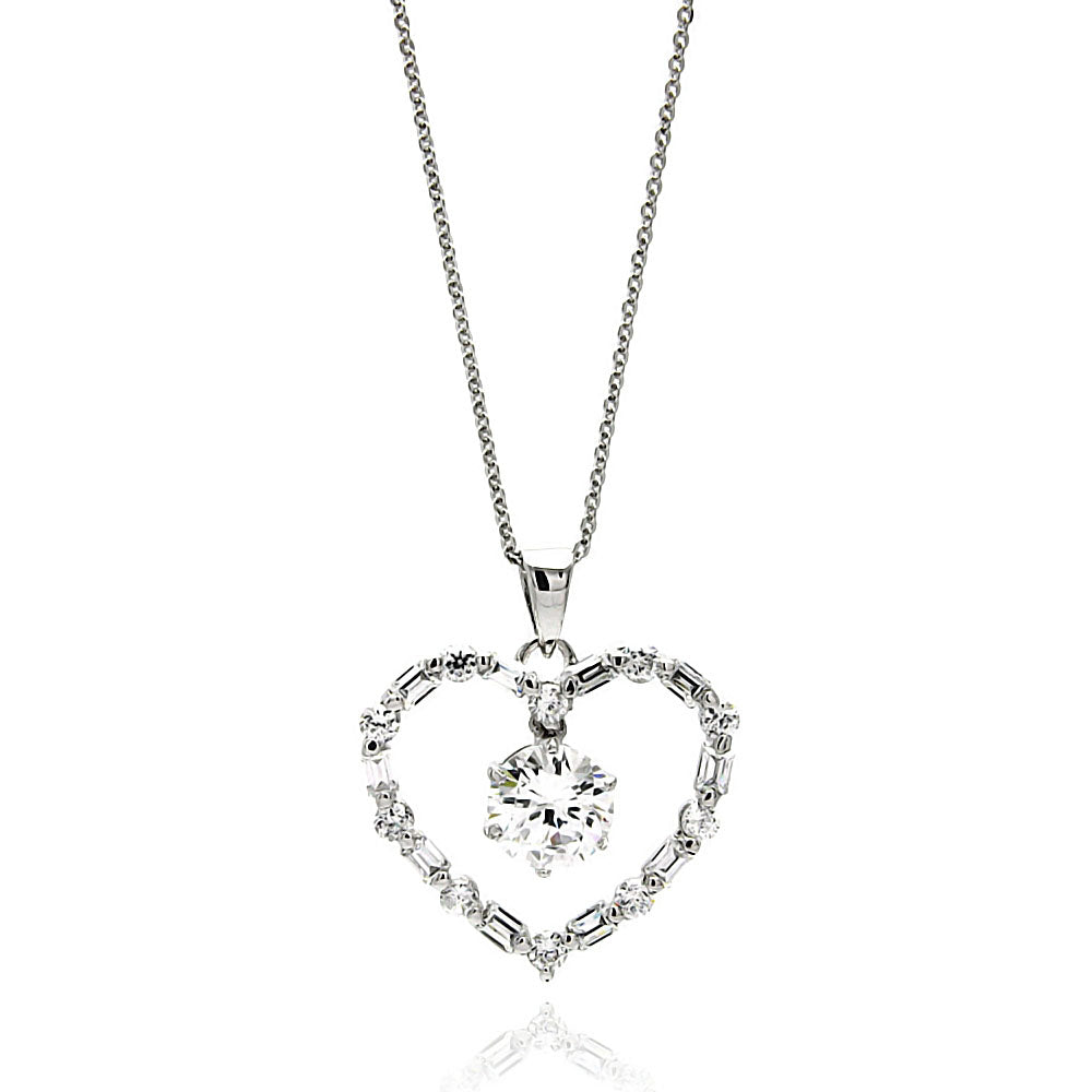 .925 Sterling Silver Rhodium Plated Open Heart Center Cubic Zirconia Necklace 18 Inches