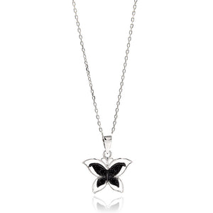 .925 Sterling Silver Rhodium Plated Open Butterfly Black & Clear Cubic Zirconia Necklace 18 Inches