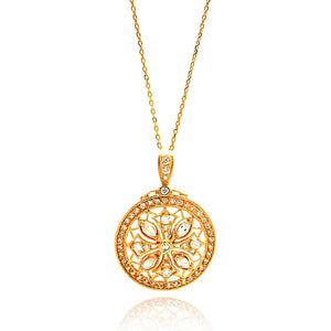 .925 Sterling Silver Rose Gold Plated Circle Flower Design Cubic Zirconia Inlay Dangling
