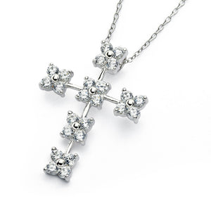 .925 Sterling Silver Rhodum Plated Clear Cubic Zirconia Flower Cross Pendant Necklace 18 Inches