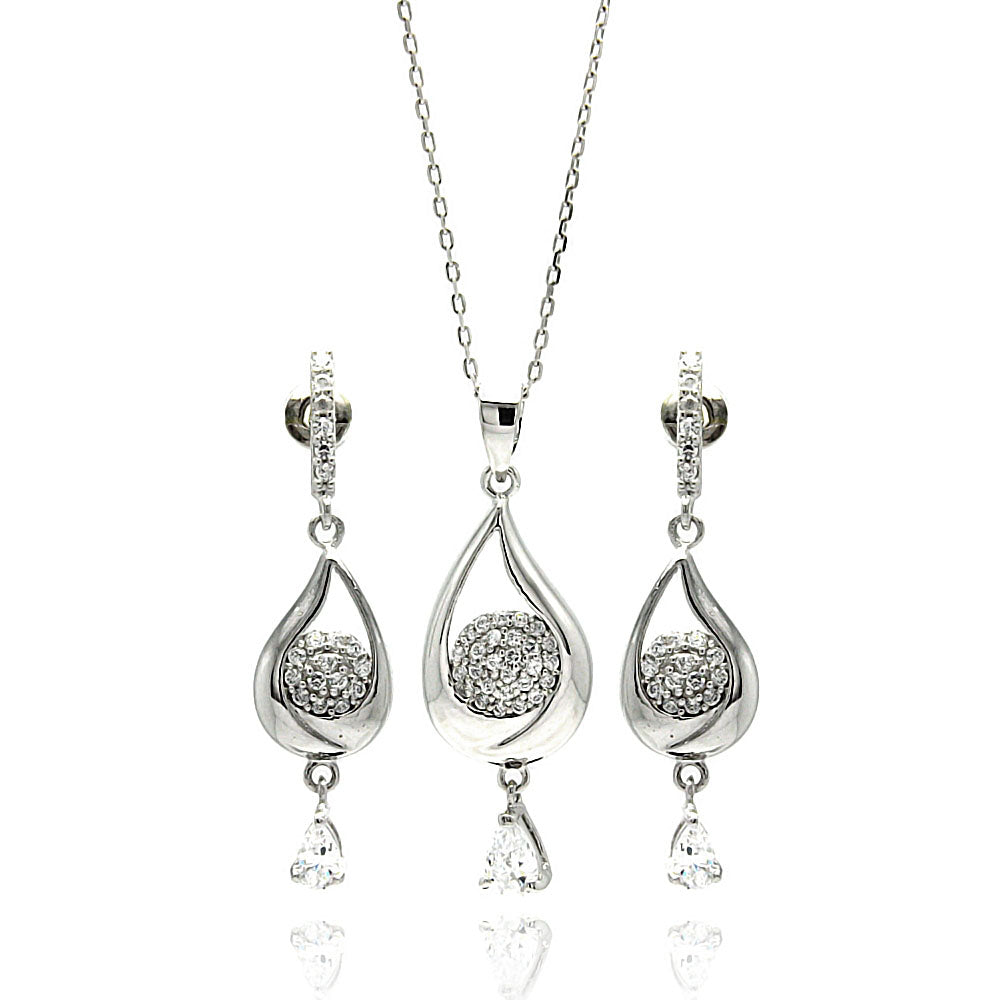 .925 Sterling Silver Rhodium Plated Teardrop Clear Cubic Zirconia Dangling Stud Earrings
