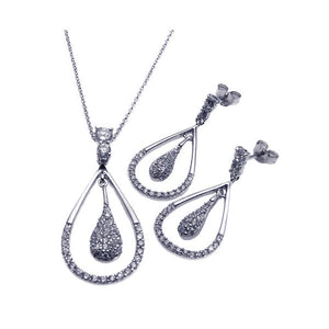 .925 Sterling Silver Rhodium Plated Open Teardrop Cubic Zirconia Dangling Stud Earring