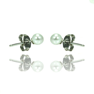 .925 Sterling Silver Rhodioum Plated Pearl Stud Earring