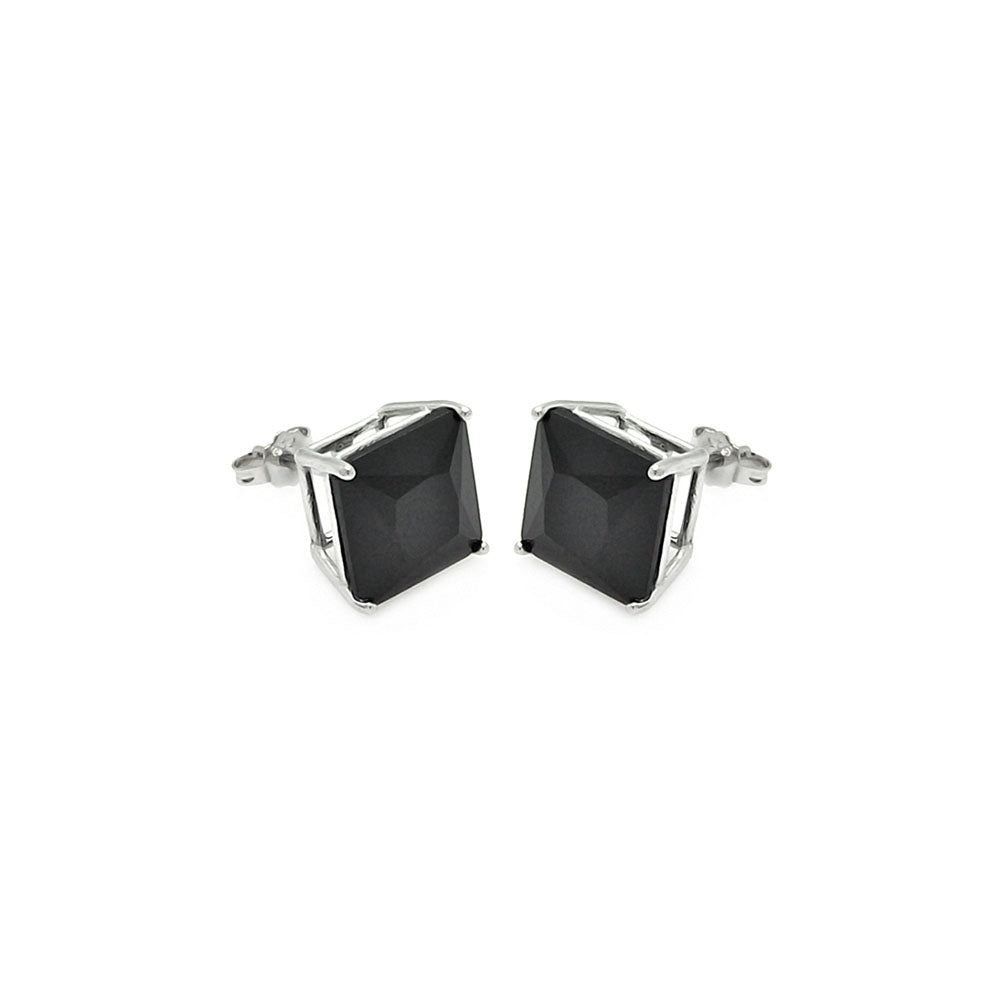.925 Sterling Silver Rhodium Plated  Square Black Cubic Zirconia Stud Earring