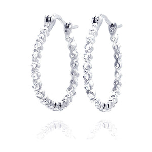 .925 Sterling Silver Rhodium Plated  Round Clear Cubic Zirconia Hoop Earring